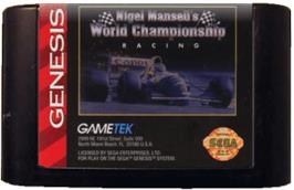 Cartridge artwork for Nigel Mansell's World Championship on the Sega Genesis.