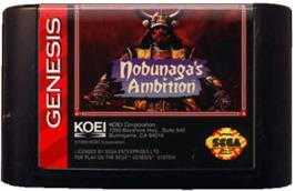 Cartridge artwork for Nobunaga's Ambition on the Sega Genesis.