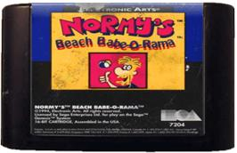 Cartridge artwork for Normy's Beach Babe-O-Rama on the Sega Genesis.