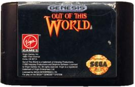 Cartridge artwork for Out of This World on the Sega Genesis.