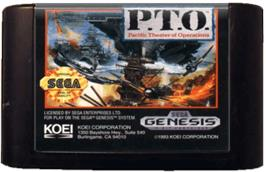 Cartridge artwork for P.T.O.: Pacific Theater of Operations on the Sega Genesis.