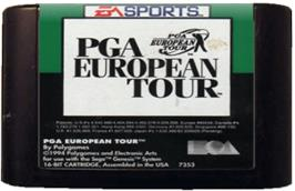 Cartridge artwork for PGA European Tour on the Sega Genesis.
