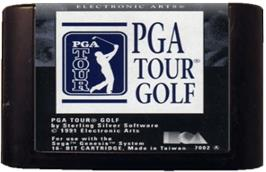 Cartridge artwork for PGA Tour Golf on the Sega Genesis.