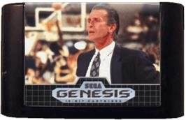 Cartridge artwork for Pat Riley Basketball on the Sega Genesis.