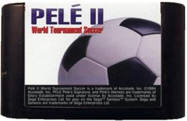 Cartridge artwork for Pelé II: World Tournament Soccer on the Sega Genesis.