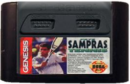 Cartridge artwork for Pete Sampras Tennis on the Sega Genesis.