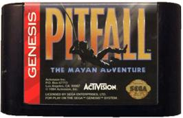 Cartridge artwork for Pitfall: The Mayan Adventure on the Sega Genesis.