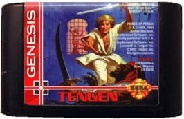 Cartridge artwork for Prince of Persia on the Sega Genesis.