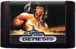 Cartridge artwork for Rambo III on the Sega Genesis.