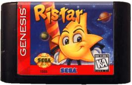 Cartridge artwork for Ristar on the Sega Genesis.