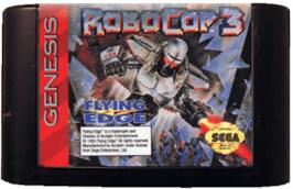 Cartridge artwork for Robocop 3 on the Sega Genesis.