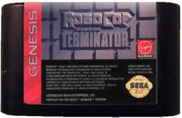 Cartridge artwork for Robocop vs. the Terminator on the Sega Genesis.