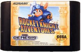 Cartridge artwork for Rocket Knight Adventures on the Sega Genesis.
