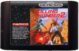 Cartridge artwork for Rolling Thunder 2 on the Sega Genesis.