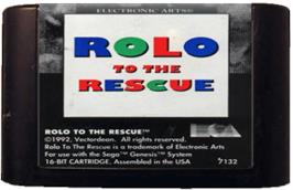 Cartridge artwork for Rolo to the Rescue on the Sega Genesis.