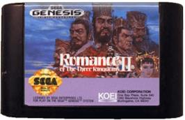 Cartridge artwork for Romance of the Three Kingdoms 2 on the Sega Genesis.