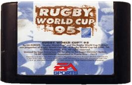 Cartridge artwork for Rugby World Cup 95 on the Sega Genesis.