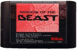 Cartridge artwork for Shadow of the Beast on the Sega Genesis.