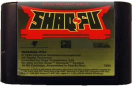 Cartridge artwork for Shaq Fu on the Sega Genesis.