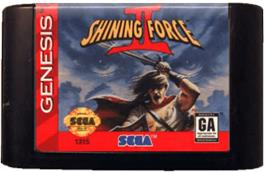 Cartridge artwork for Shining Force 2 on the Sega Genesis.