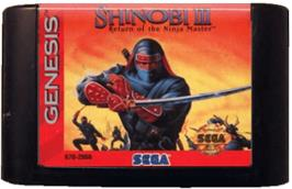 Cartridge artwork for Shinobi III on the Sega Genesis.