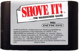 Cartridge artwork for Shove It! The Warehouse Game on the Sega Genesis.
