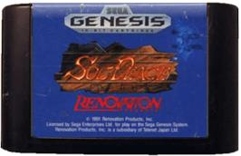 Cartridge artwork for Sol-Feace on the Sega Genesis.