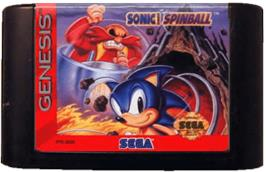 Cartridge artwork for Sonic Spinball on the Sega Genesis.