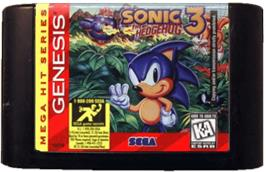 Cartridge artwork for Sonic The Hedgehog 3 on the Sega Genesis.