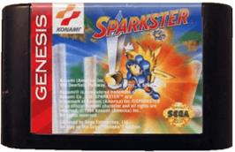 Cartridge artwork for Sparkster on the Sega Genesis.