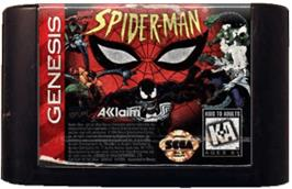 Cartridge artwork for Spider-Man: The Animated Series on the Sega Genesis.