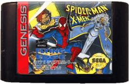 Cartridge artwork for Spider-Man and the X-Men: Arcade's Revenge on the Sega Genesis.
