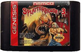 Cartridge artwork for Splatter House 3 on the Sega Genesis.