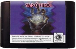 Cartridge artwork for Star Control on the Sega Genesis.