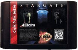Cartridge artwork for Stargate on the Sega Genesis.