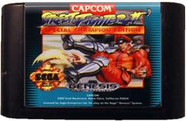 Cartridge artwork for Street Fighter II' - Champion Edition on the Sega Genesis.