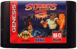 Cartridge artwork for Streets of Rage 3 on the Sega Genesis.