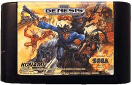 Cartridge artwork for Sunset Riders on the Sega Genesis.