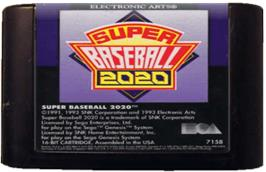 Cartridge artwork for Super Baseball 2020 on the Sega Genesis.