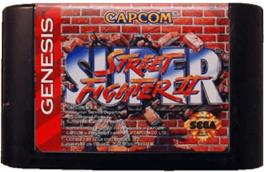 Cartridge artwork for Super Street Fighter II - The New Challengers on the Sega Genesis.
