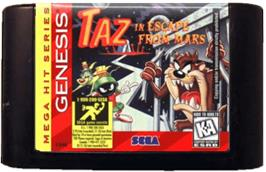 Cartridge artwork for Taz in Escape from Mars on the Sega Genesis.
