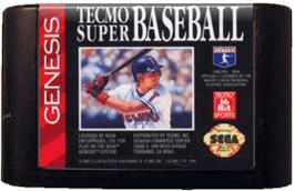 Cartridge artwork for Tecmo Super Baseball on the Sega Genesis.