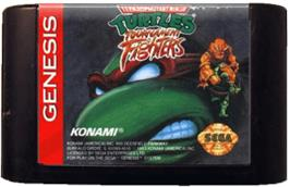 Cartridge artwork for Teenage Mutant Ninja Turtles: Tournament Fighters on the Sega Genesis.