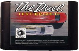 Cartridge artwork for Test Drive II - The Duel on the Sega Genesis.