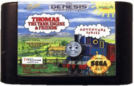 Cartridge artwork for Thomas the Tank Engine & Friends on the Sega Genesis.