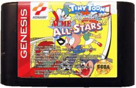 Cartridge artwork for Tiny Toon Adventures: Acme All-Stars on the Sega Genesis.