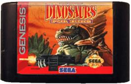 Cartridge artwork for Tom Mason's Dinosaurs for Hire on the Sega Genesis.