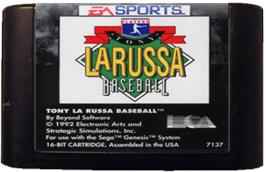 Cartridge artwork for Tony La Russa Baseball on the Sega Genesis.
