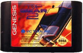 Cartridge artwork for Top Gear 2 on the Sega Genesis.