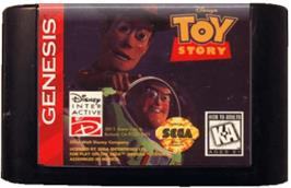Cartridge artwork for Toy Story on the Sega Genesis.
